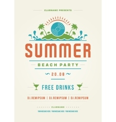 Summer Holydays Beach Party Typography Poster or vector image vector image
