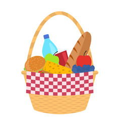 wicker picnic basket with a blanket vector image vector image