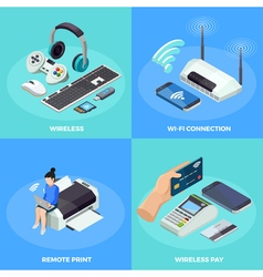 Wireless technology 4 isometric icons square vector
