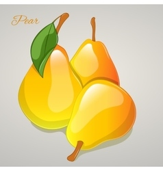 Yellow pear simple cartoon style vector image