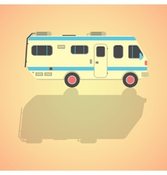 Yellow travel camper van with shadow vector