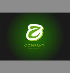 Z alphabet letter logo green 3d company icon vector