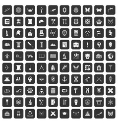 100 archeology icons set black vector