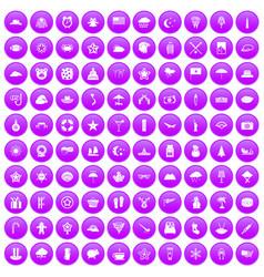 100 star icons set purple vector