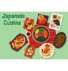 Japanese cuisine spicy dinner dishes icon vector