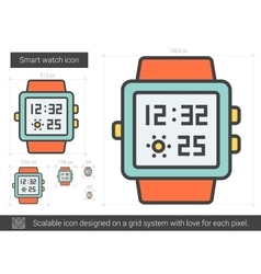 Smart watch line icon vector