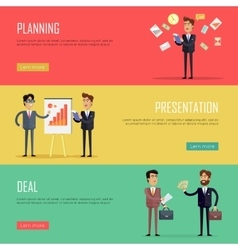 Set of business concept web banners vector
