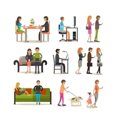 Set of people with modern gadgets flat vector