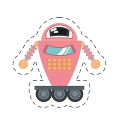 Pink robot artificial intelligence cutting line vector