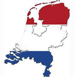 Map of netherlands with national flag vector