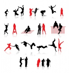 silhouettes of peoples vector image