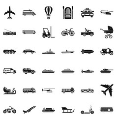 Moving transport icons set simple style vector