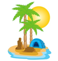 Tent on island vector