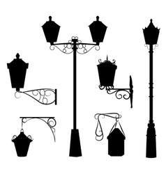 Silhouette of antique outdoor lamps vector