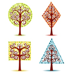 four geometrical trees vector image