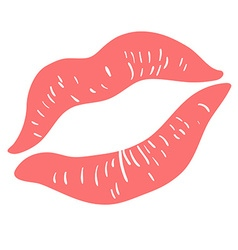 Pink lipstick print on white vector