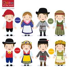 Children of the world denmark latvia sweden vector
