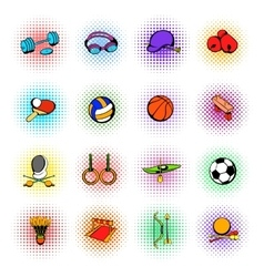 Sports equipment icons set comics style vector