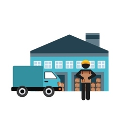 Garage man truck and package icon delivery design vector