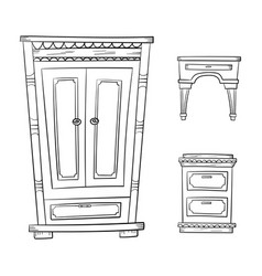 Antique furniture set - closet dresser vector