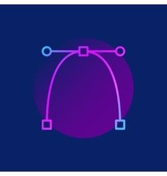 Bezier curve purple icon vector
