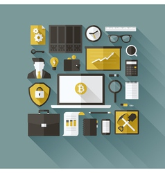 Bitcoin essentials modern flat design elements vector