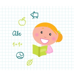 blond girl reading vector image