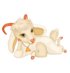 cartoon young cute goat vector image vector image