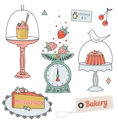 Colorful collection of baking items and sweets vector image vector image