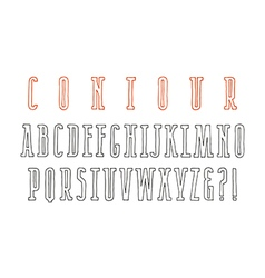 Contour narrow serif font vector