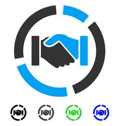 Cooperation handshake diagram flat icon vector