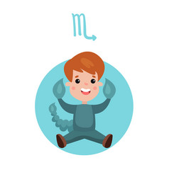cute little boy as scorpio astrological sign vector image