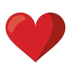 Cute red heart love romantic symbol vector