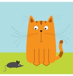 Cute red orange cartoon cat looking at mouse big vector
