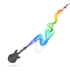 Dark gray guitar icon with color abstract wave vector image