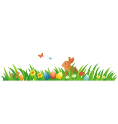 Easter grass with a bunny vector