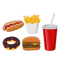 Fast food colored cartoon drawing vector