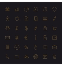 Finance and banking gold linear icons set vector image vector image