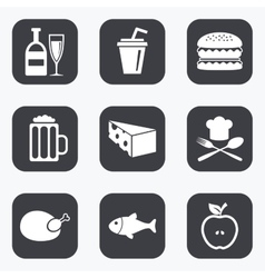 Food drink icons Beer fish and burger signs vector image vector image