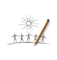 Hand drawn people team silhouettes holding hands vector