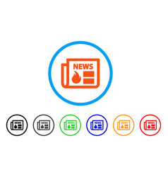 Hot news rounded icon vector