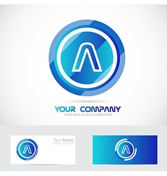 Letter a blue circle abstract logo vector
