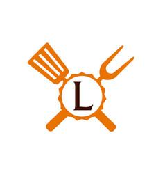Logo restaurant letter l vector