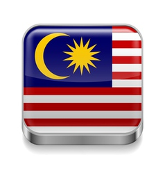 Metal icon of Malaysia vector image vector image