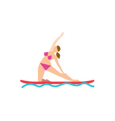 Paddle board yoga concept with young woman vector