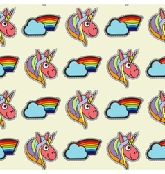 Patch unicorns and rainbows seamless vector