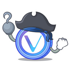 Pirate vechain coin character cartoon vector