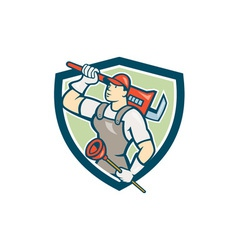 Plumber holding wrench plunger shield cartoon vector
