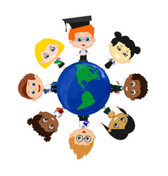pupils with globe vector image