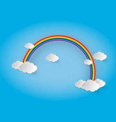 rainbow and clouds in the sky vector image